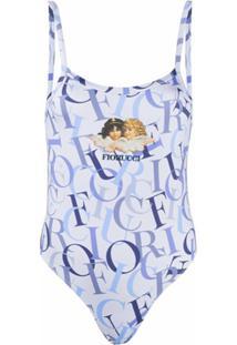Fiorucci Logo-Print Vest Bodysuit - Azul