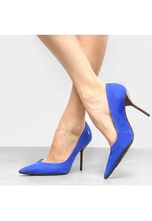 b0d89d9457 ... Scarpin Couro Santa Lolla Salto Alto Bico Fino - Feminino-Azul Royal