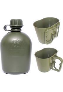 Kit Cantil E Caneco Para Camping Em Polipropileno Padrão Eb Verde Atacado Militar