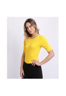 Blusa Feminina Básica Manga Curta Canelada Decote Redondo Amarela