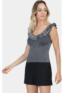 Blusa Metalizada Tricô Prata - Lez A Lez