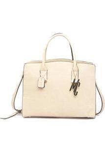 Bolsa Macadamia Grande Com Textura Croco - Feminino-Off White