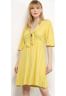 Vestido Curto Mercatto Manga 3/4 Amarração - Feminino-Amarelo