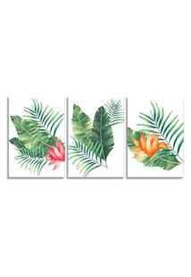 Quadro Oppen House 60X120Cm Folhagem Palmeira E Flor Canvas Decoraçáo