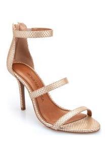 Sandalia Salto Alto Ziper Traseiro Branco/Dourado