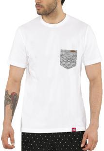 Camiseta Wevans Bolso Aplique Geométrico 33 Branca