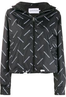 Calvin Klein Jeans Logo Print Shell Jacket - Preto