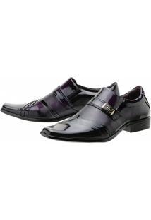 Sapato Social Gofer Verniz Purpura - Masculino-Preto