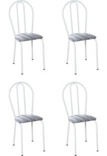 Conjunto 4 Cadeiras Hécate Branco E Linho
