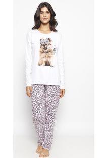 Pijama Com Calça Animal - Branca & Cinzamalwee