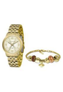 Kit Relógio Feminino Lince Analógico Lrg4505L Ku47C2Kx + Pulseira Dourado