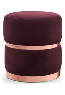 Puff Decorativo Com Cinto E Aro Rosê Round B-278 Veludo Marsala - Domi
