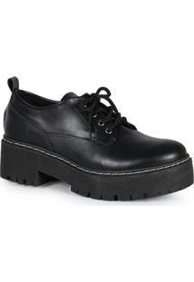Sapato Feminina Oxford Tratorado Preto