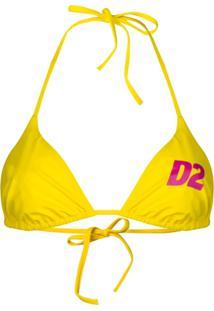 Dsquared2 Logo Print String Bikini Top - Amarelo
