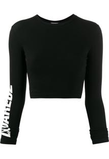 Dsquared2 Blusa Cropped Com Estampa De Logo - Preto