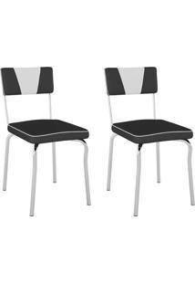 Conjunto Com 2 Cadeiras Retrô Preto E Branco