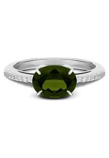Anel Ouro Branco Diamantes E Turmalina Verde
