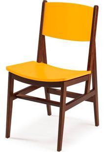 Cadeira Dumon Cor Cacau Com Amarelo - 30784 - Sun House
