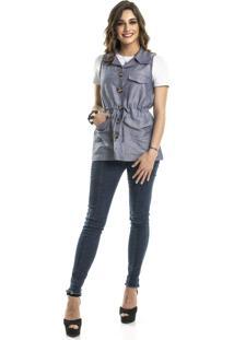 Colete Parka Com Botões Coleteria Azul Jeans