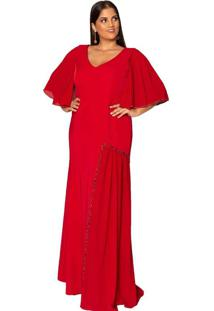 Vestido Almaria Plus Size Pianeta Bordado Vermelho