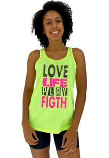 Regata Feminina Alto Conceito Love Life Play Fight Amarelo Flúor