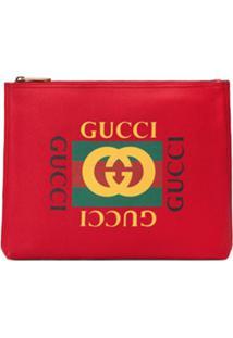 Gucci Clutch De Couro Com Estampa - Vermelho