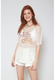 Blusa Tule Bordado Summer Off Sand Oh, Boy! - Feminino-Off White