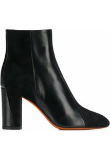 Santoni Ankle Boot Com Salto Bloco - Preto