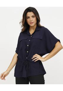 Camisa Lisa Com Canaleta - Azul Marinho - Estilo Hestilo H