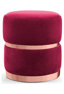 Puff Decorativo Com Cinto E Aro Rosê Round B-173 Veludo Vermelho - Dom