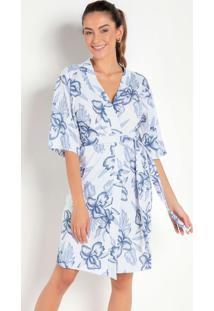 Robe Com Mangas Curtas Floral Azul