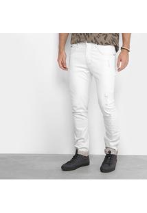 Calça Skinny Forum Sarja Alexandre Masculina - Masculino-Off White