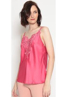 Blusa Acetinada Com Renda - Pink - Moiselemoisele