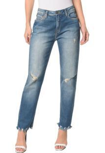 Calça Jeans Five Pocktes Mid Rise Boy Ckj 061 Mid Rise Boy - Azul Médio - 40