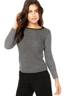 Suéter Dafiti Unique Bicolor Preto