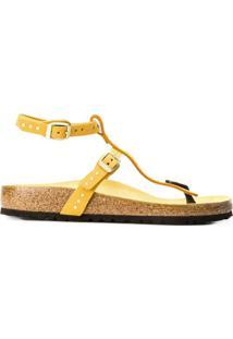 Birkenstock Sandália Com Aplicação De Tachas - Amarelo