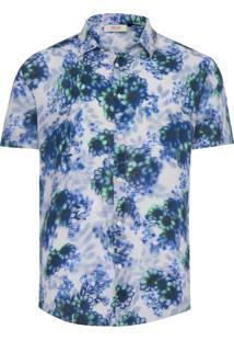 Camisa Masculina Wrinkled Floral Lumini - Azul