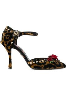 Dolce & Gabbana Sandália Com Animal Print - Marrom