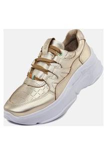 Tênis Sneaker Degriffe Chunky Dourado