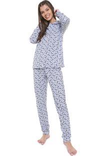 Pijama Moletom Laibel Estampado Azul