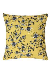 Capa De Almofada Colorida Estampada Amarelo Floral 45 X 45
