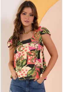 Blusa Floral Étnico Com Decote Quadrado