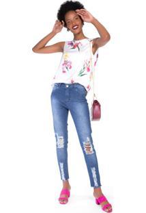 Calça Jeans Skinny Super Destroyed