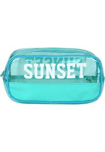 Necessaire Drezzup Sunset - Feminino-Azul Claro+Branco