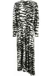 Isabel Marant Vestido Longo Gola V Com Estampa De Zebra - Preto