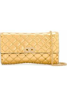 Valentino Garavani Quilted Rockstud Shoulder Bag - Dourado