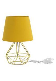 Abajur Diamante Dome Amarelo Mostarda Com Aramado Dourado