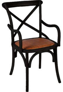Cadeira Paris Carvalho Americano Preta Com Braço