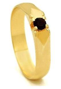 Anel Ponto Rubi Com Banho Em Ouro 18 K - 1010008-Aro Horus Import Feminino - Feminino-Dourado