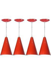 Kit 04 Luminárias Pendente Cone Em Alumínio Vermelho